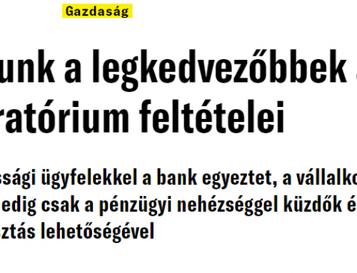 Pásztor Szabolcs: Nálunk a legkedvezőbbek a moratórium feltételei (Magyar Hírlap, 2020.11.06.)