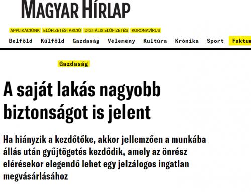 Pásztor Szabolcs: hazánkban kiemelkedően magas a lakástulajdonlás mutatója (Magyar Hírlap, 2020.11.17.)