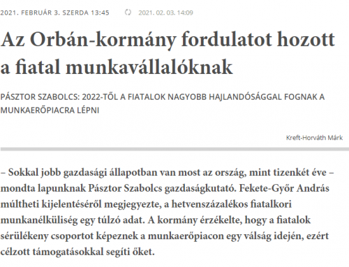 A fiatalok munkaerőpiaci helyzetéről nyilatkozott a Magyar Nemzetnek Pásztor Szabolcs