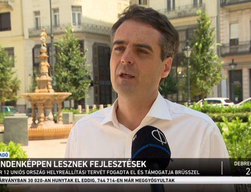 A járvány utáni intézkedésekről és az uniós támogatások felhasználásáról beszélt Pásztor Szabolcs az M1 Híradó műsorában 2021. július 22-én